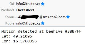 Theft alert e-mail with last known GPS position
