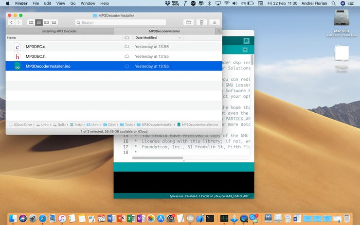 Download and Open the MP3DecoderInstaller Arduino sketch provided in the code section below