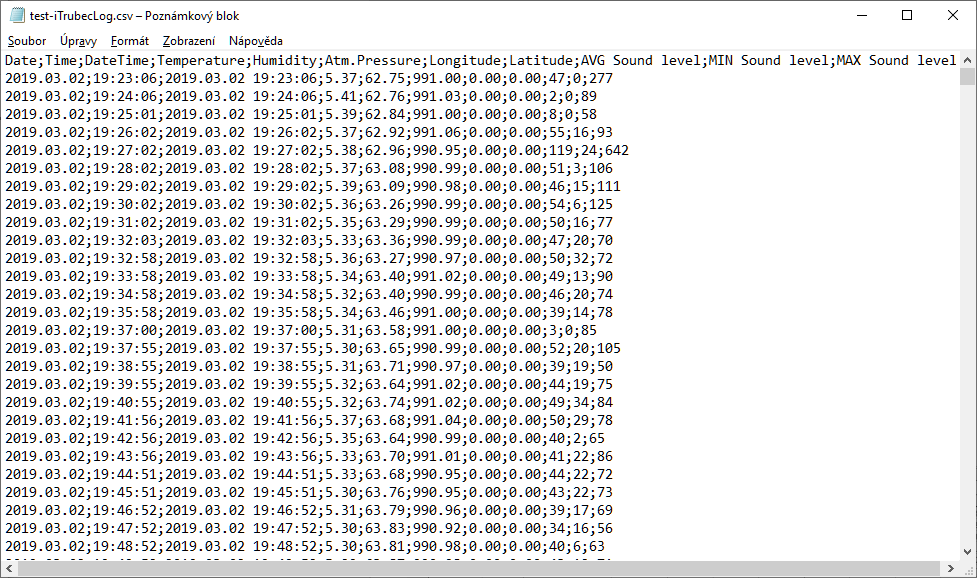 CSV log file taken directly from SD card and opened in Notepad
