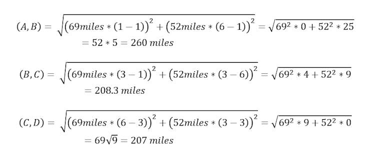 Longitude to distance