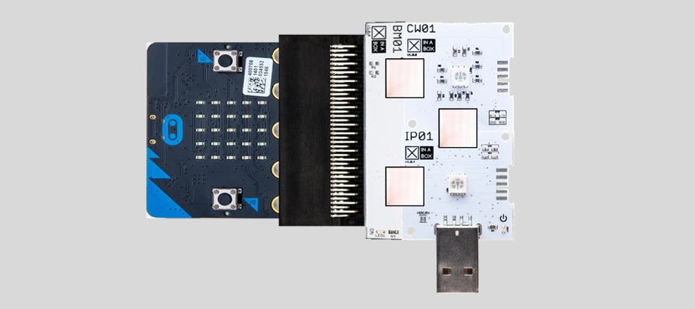 A correctly assembled micro:bit XinaBox IoT Starter Kit - referred to as a gateway in this blog