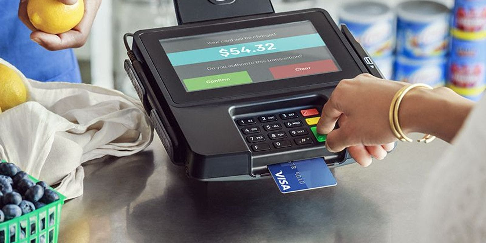 A picture of a payment terminal at a retail store.