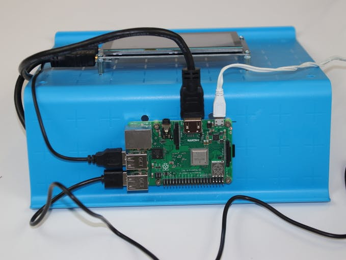 The Raspberry PI of the prototype. Note that the HDMI 5 inches monitor is used only for testing feedback. The usable device is a headless unit and and external monitor should be used only for the initial calibration