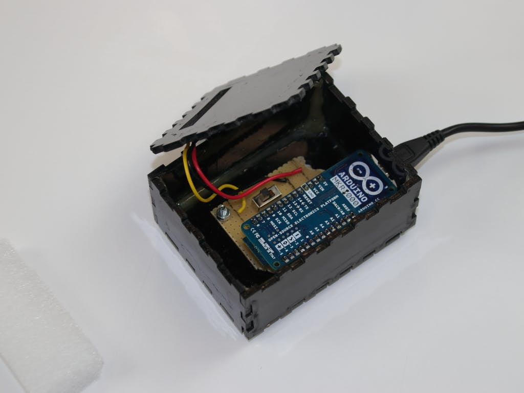 The Arduino MKR1000 in its prototype board