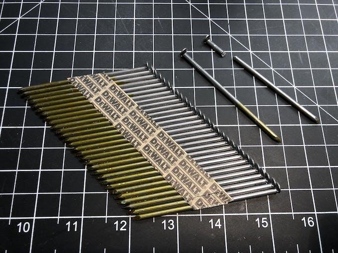 Nails used as slider pins