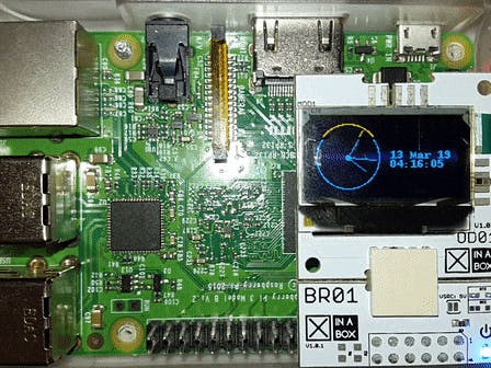 Clock Display with XinaBox OD01 and Raspberry Pi