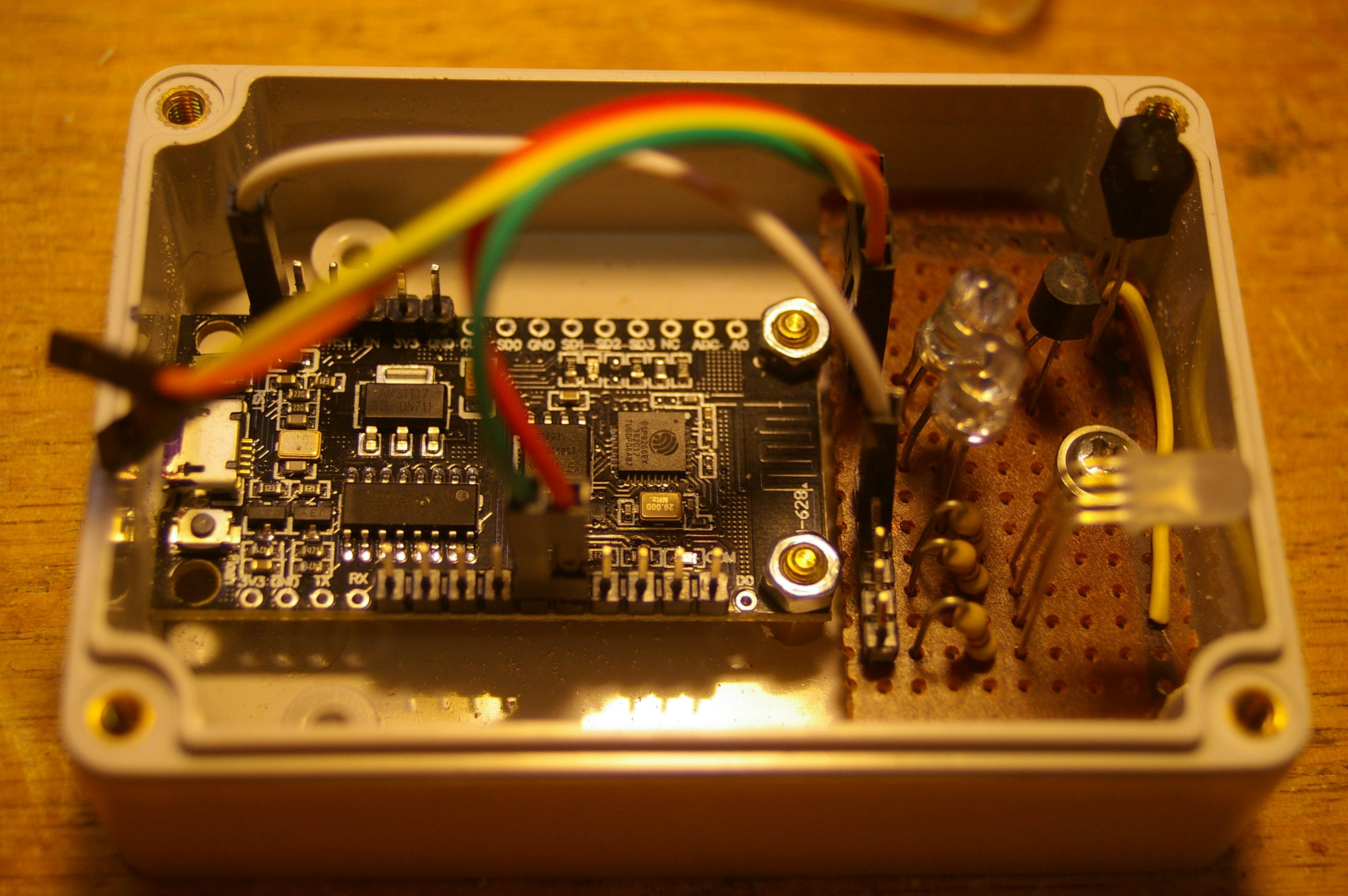 Other side showing ESP8266 and all the LED's and IR receiver.
