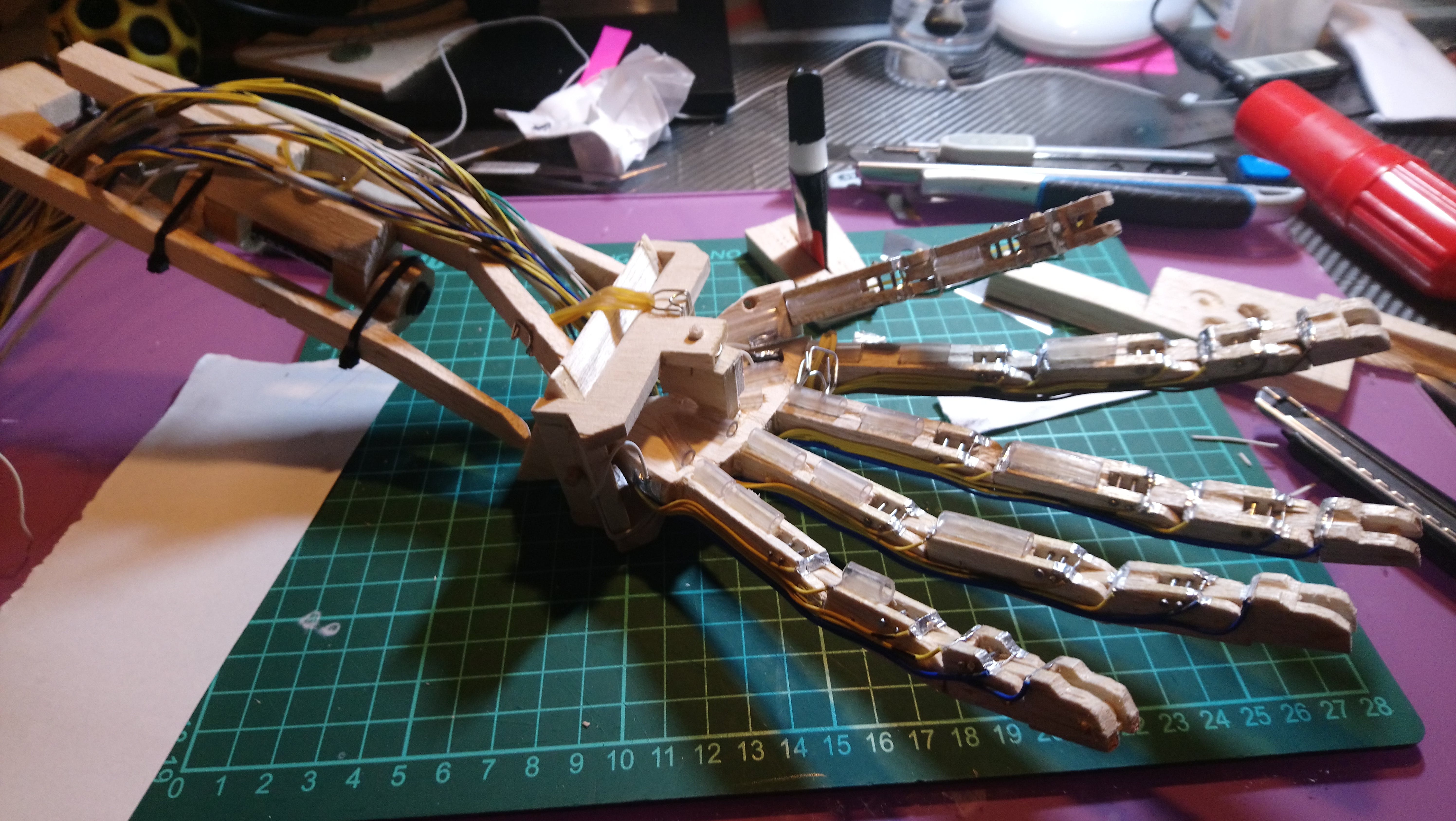 """""""High"""" Limit Switches on fingers (together with tubes for guiding """"muscles"""")"""