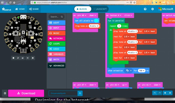 Adafruit's MakeCode editor for the CPX
