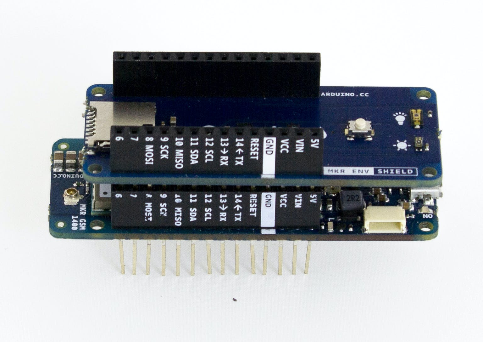 Carefully plug the MKR ENV Shield in the MKR GSM 1400 connector