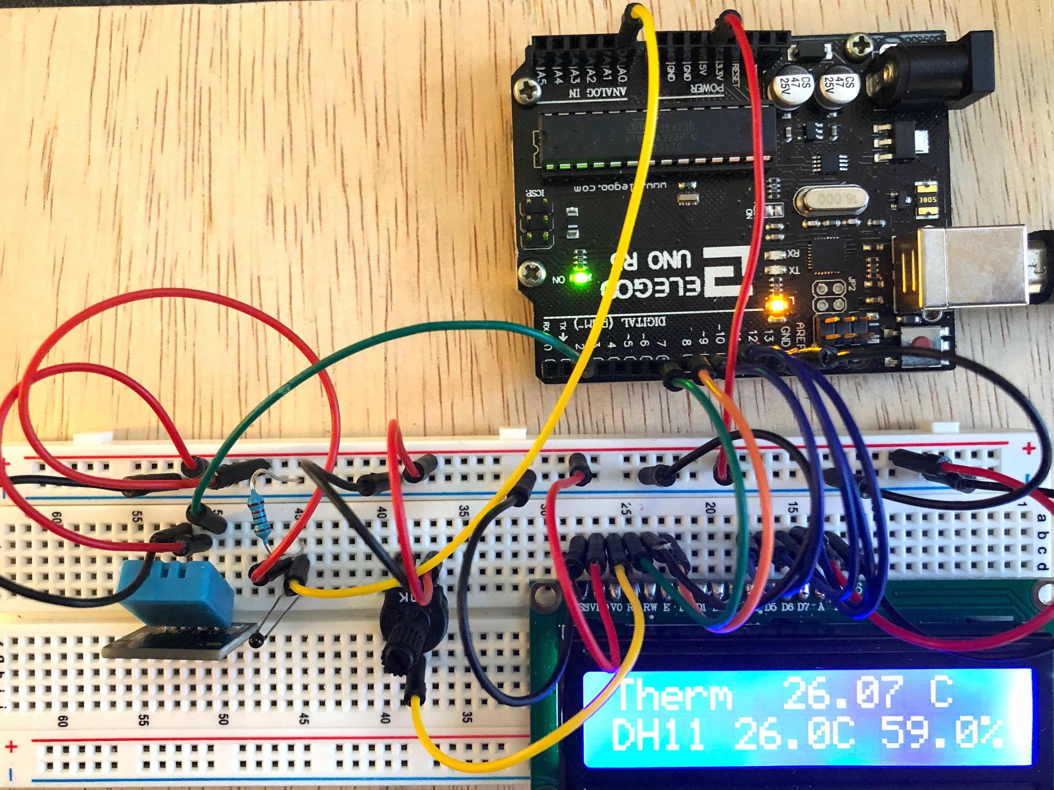Two Temperatures and Humidity to Both Terminal and LCD
