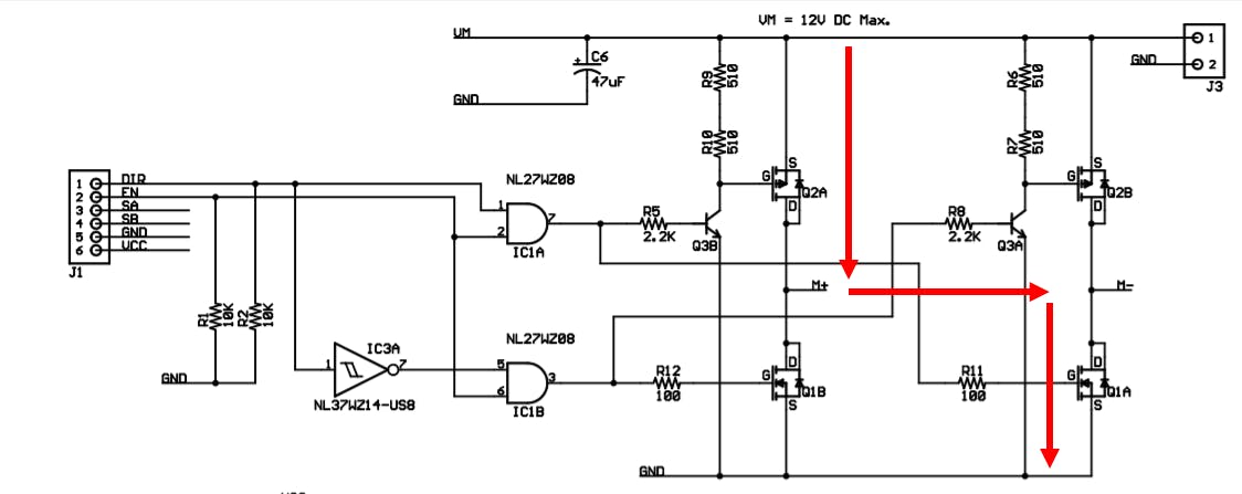 H Bridge Voltage Flow for forward Motor Control