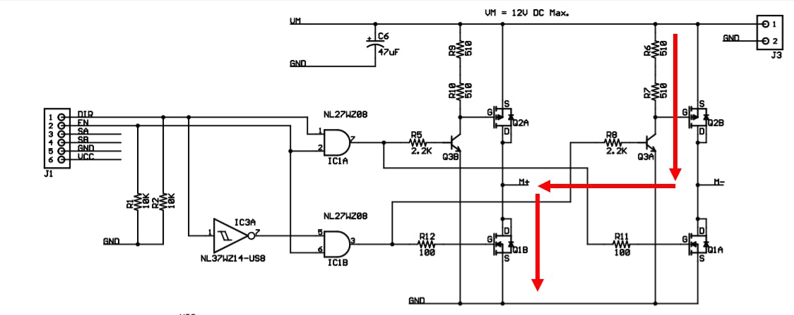 H Bridge Voltage Flow for Reverse Motor Control