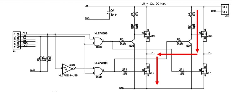 H Bridge Voltage Flow for Reverse Motor Control