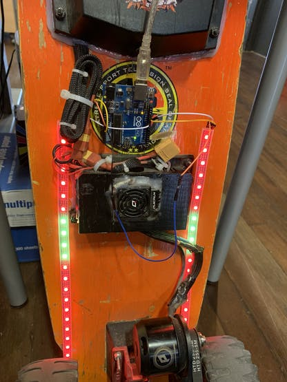 My initial run, with Red & Gold patterns and power from my computer to an Arduino Uno