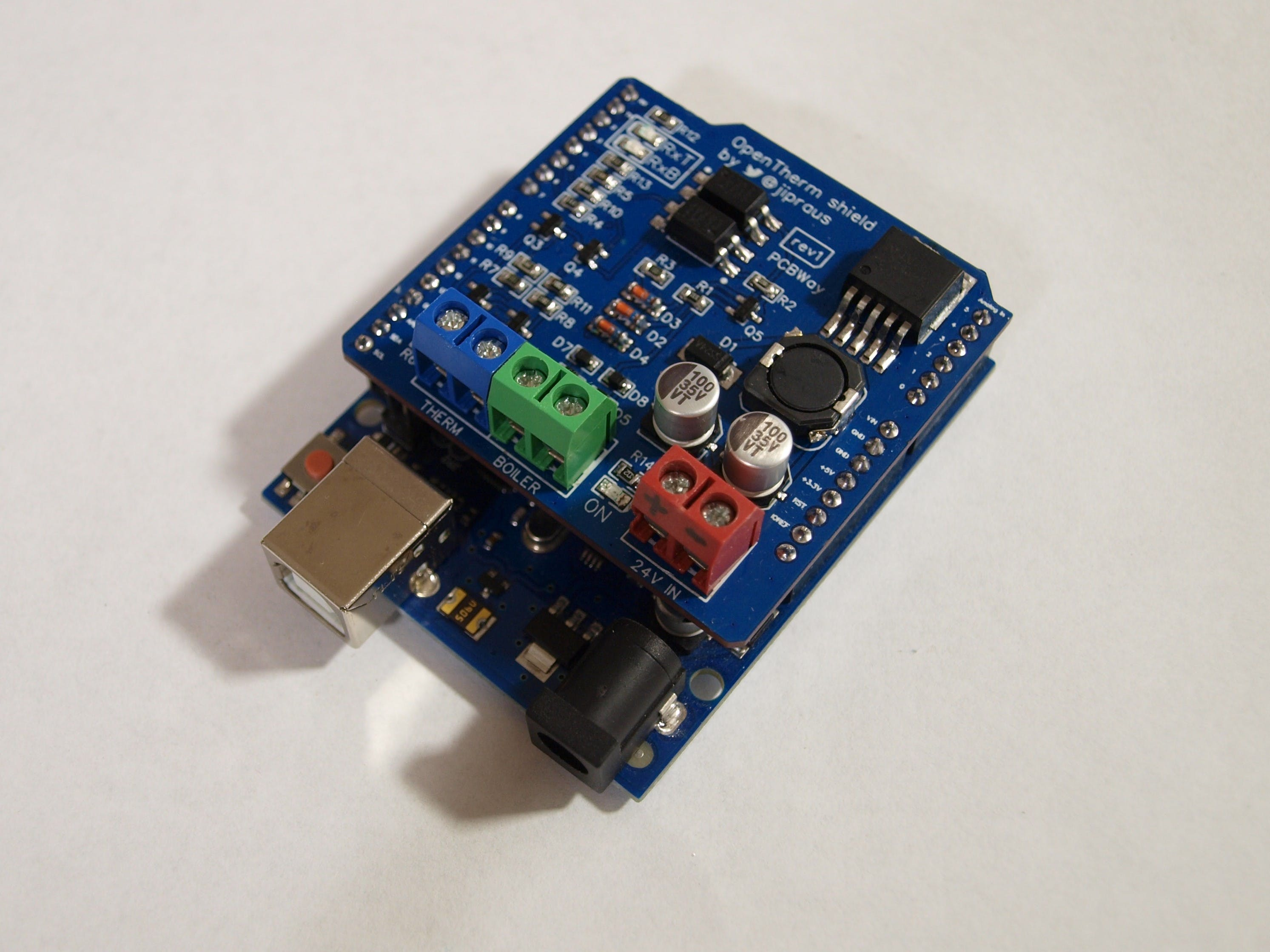 OpenTherm shield on top of Arduino UNO