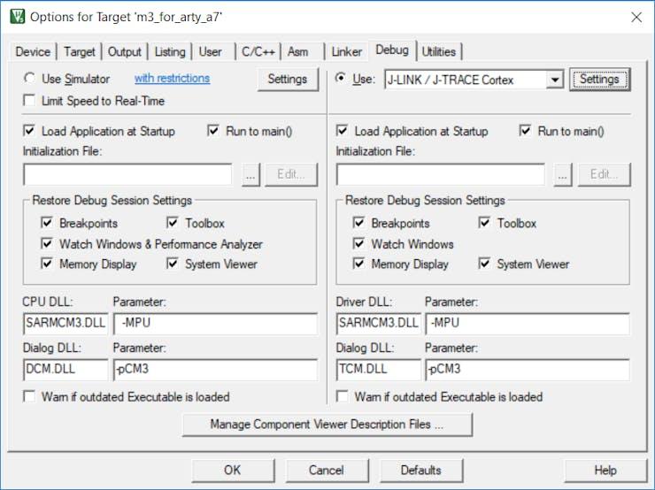 Configuration of the Debug Tab