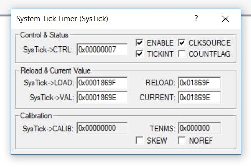 System Tick Viewer in Debug view (J-LINK or Arm DAP required)