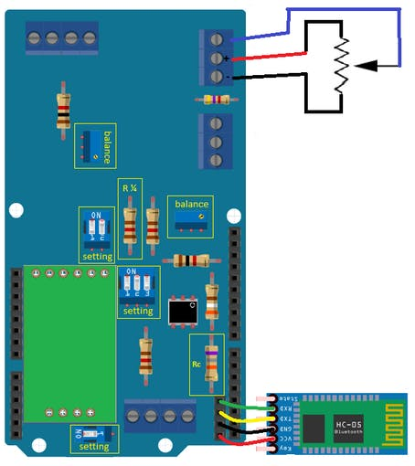 Figure 10 - Displacement transducer connection diagram