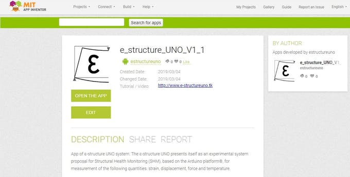 Figure 4 - Search for the ε-structure UNO App next to the MIT App Inventor Gallery
