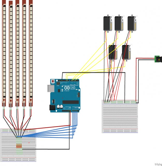 Circuit diagram of the robotic hand