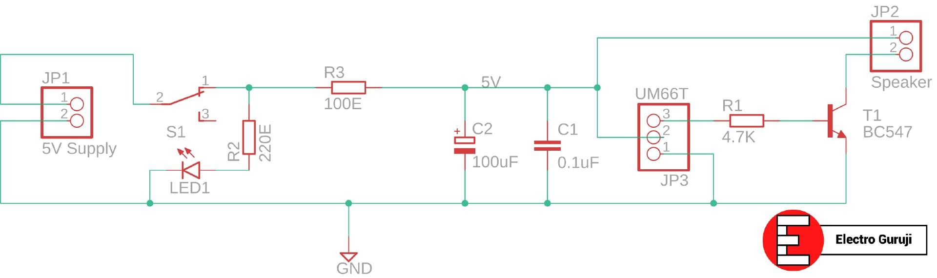 UM66 Musical Bell Circuit Schematic