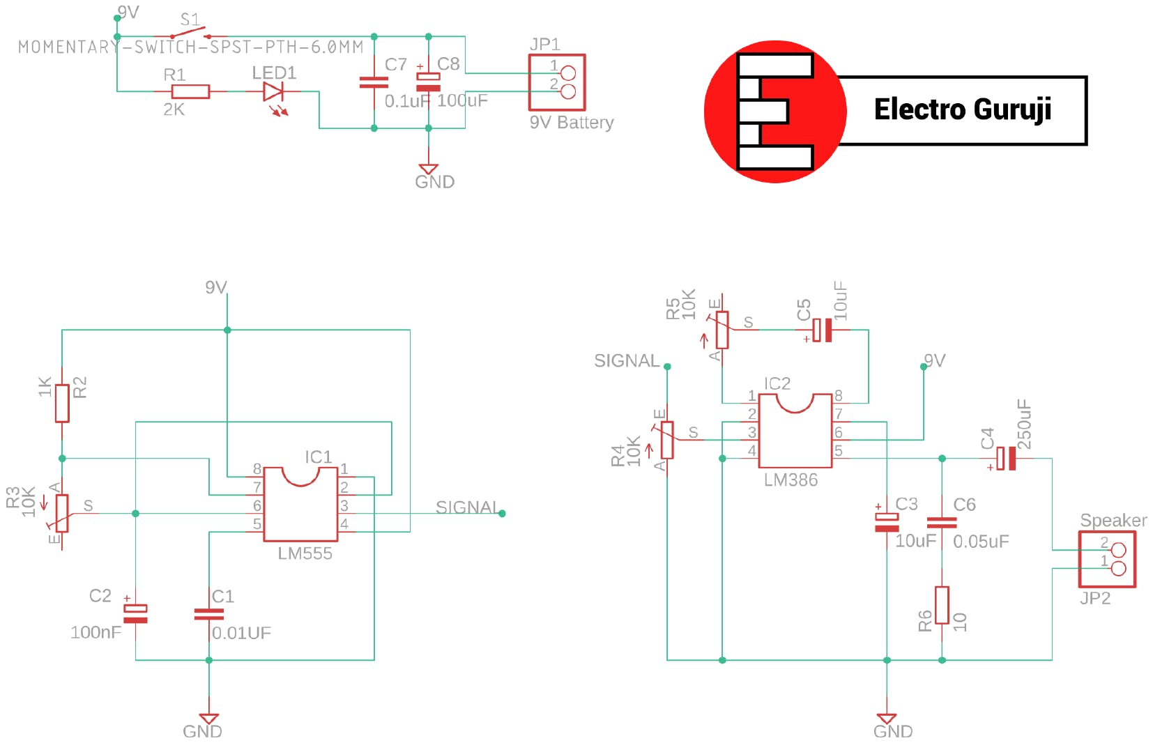 555 Electronic Horn Circuit Schematic