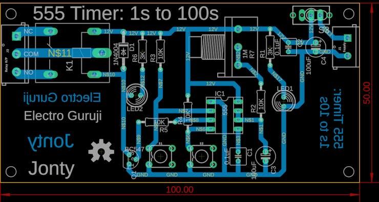 555 Timer PCB Board Layout