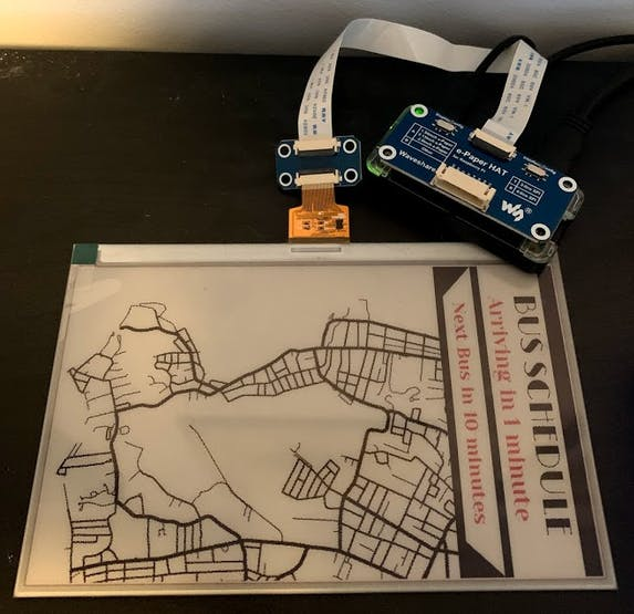 E-Ink display connected to the Raspberry Pi Zero W