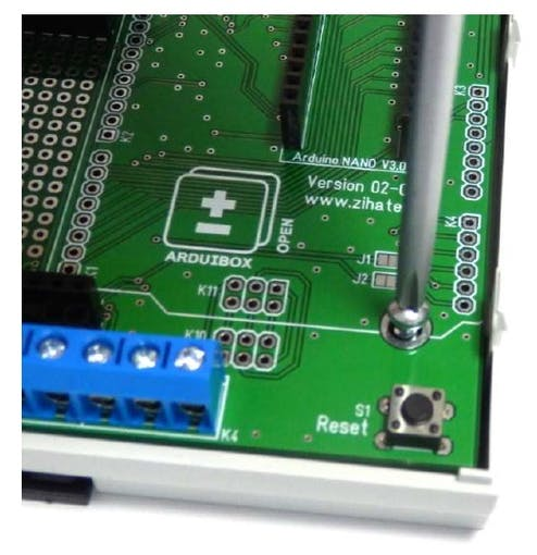 Fix the pcb with self tapping screws