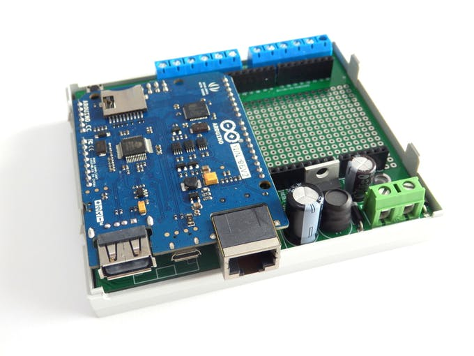 Pcb with mounted Arduino YUN