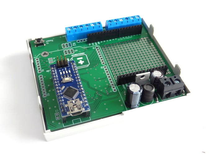 PCB with mounted Arduino NANO