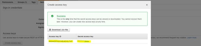 Access Key and Secret Key