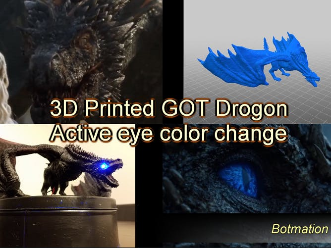 3D-Printed Drogon with LED Eyes for Game of Thrones