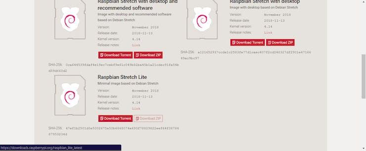 Download Raspbian Stretch Lite