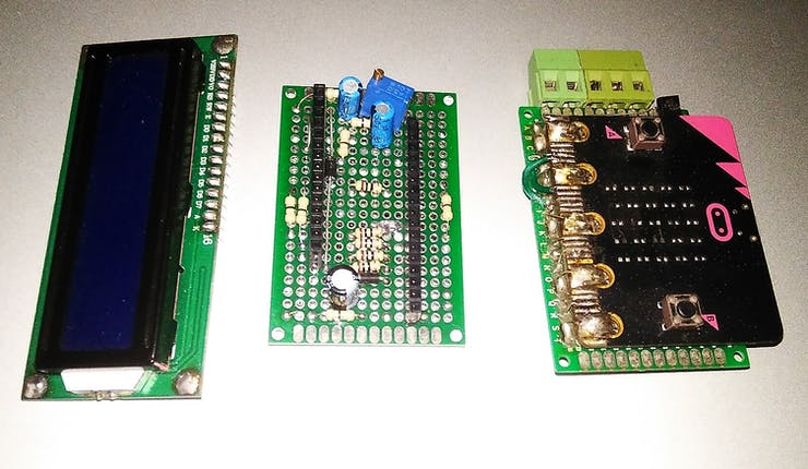 5V 16x2 Text LCD, Voltage Doubler Interface Board, Modified Micro:bit