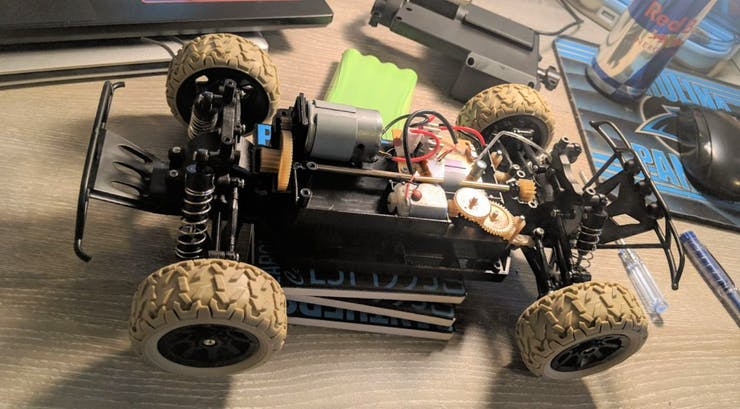 RC car after removed the body and plastic cover