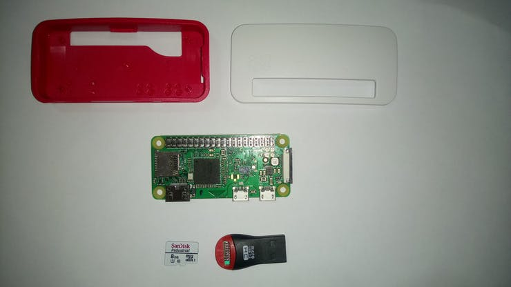 Raspberry Pi Zero W, MicroSD Card and micro USB 2.0
