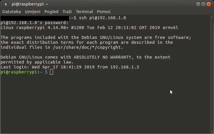 Raspberry Pi ssh access via Linux OS