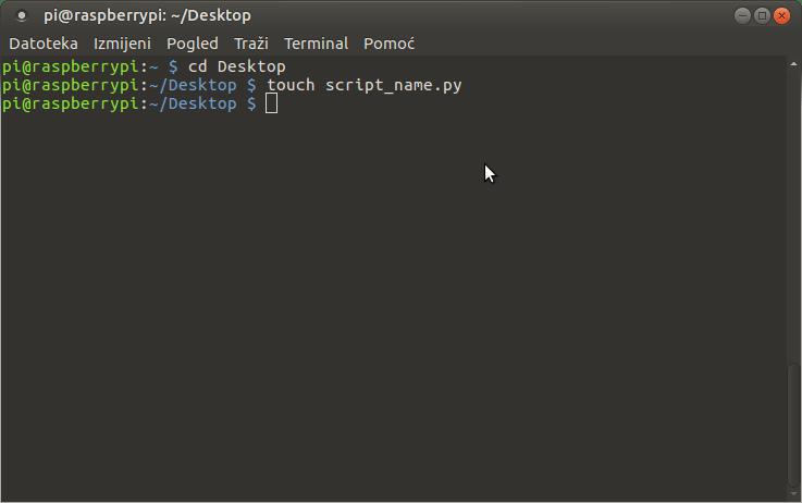 Command for create Python script