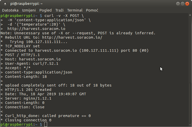 Sending data from terminal