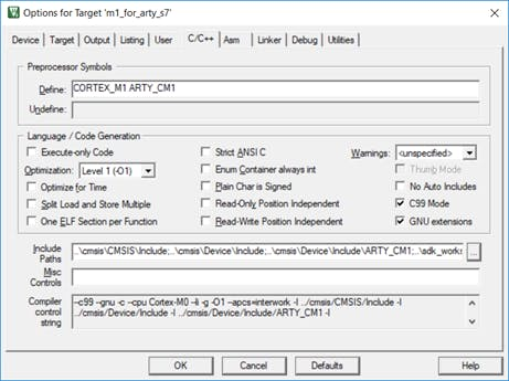 Setting C99 and GNU Extensions