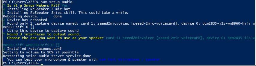 configuring ReSpeaker 2-Mics Pi HAT  with sam
