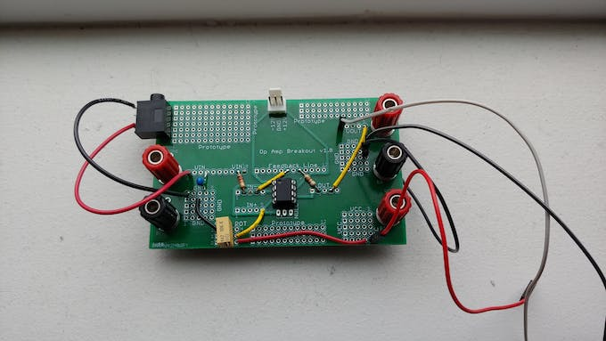 The completed circuit with wires for easy connection to the microprocessors