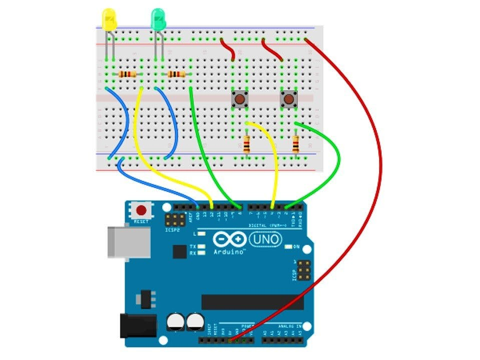 Working with two LEDs and two PUSH BUTTONs