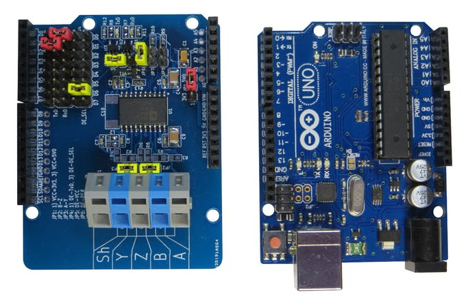 RS-485/RS-422 Isolated Transceiver Arduino Shield and Arduino UNO