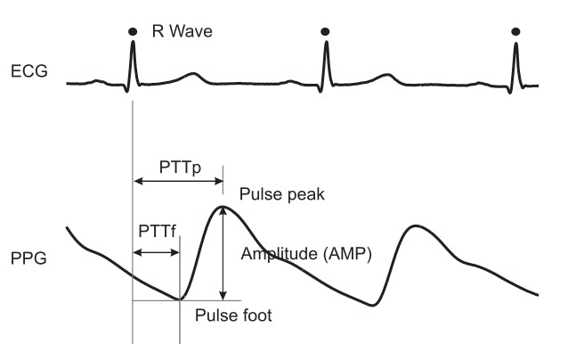 Getting the values of Pulse Transit time(PTT) to the foot of the pulse and PTT to the peak of the pulse-Credits: https://iopscience.iop.org/article/10.1088/0967-3334/28/3/R01/meta