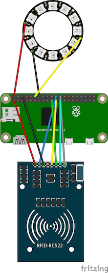 Schematic to add the NeoPixel Ring - 12 x 5050 RGB LED to the Raspberry Pi Zero.