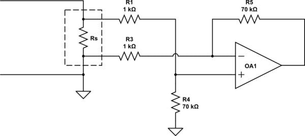 Ammeter scheme (credits: https://electronics.stackexchange.com)