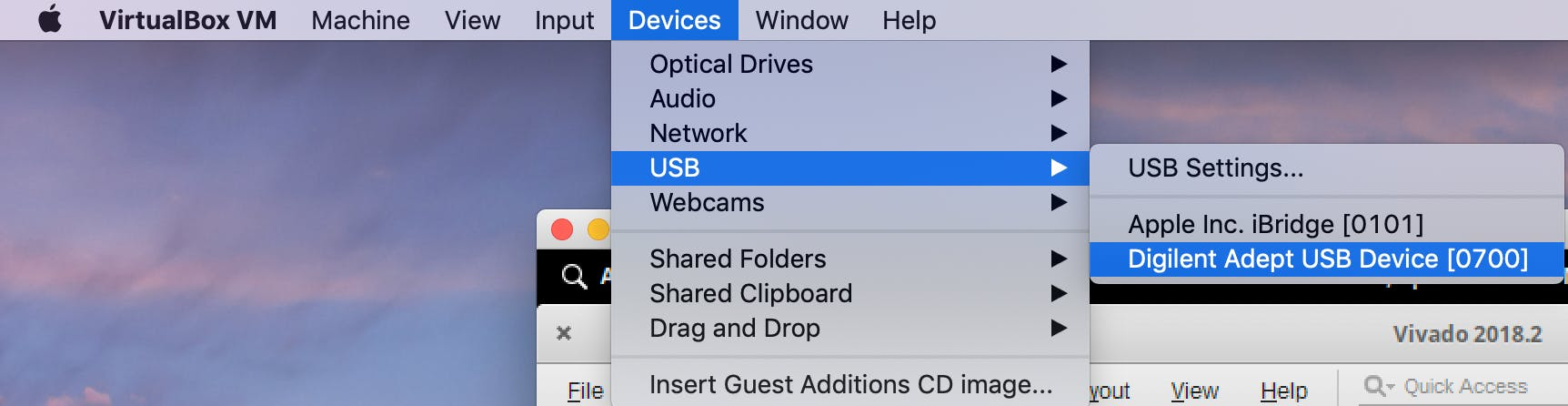 Select the Digilent device so the virtual desktop can see it